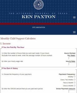 texas child support calculator